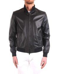 Emporio Armani Black Leather Outerwear Jacket