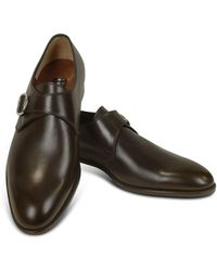 Fratelli Rossetti Brown Leather Monk Strap Shoes - Black