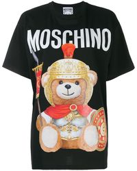 Moschino Oversized T-shirt In Black Jersey Cotton With Teddy Bear Dressed Like A Roman Gladiator.