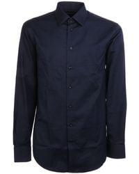 Emporio Armani Blue Cotton Shirt