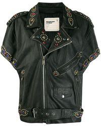 R13 W7389std Leather Outerwear Jacket - Black