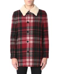 Saint Laurent Checked Buttoned Jacket - Red
