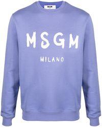 MSGM Sweatshirt mit Pinselstrich-Print - Lila