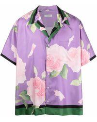 Valentino Seidenhemd mit Rosen-Print - Lila