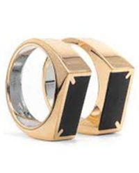 Maison Margiela Embossed 11 Logo Thin Ring - Metallic