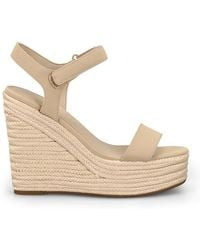 Kendall + Kylie Beige Leather Wedges - Natural