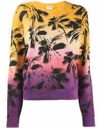 Saint Laurent Sweatshirt mit Palmen-Print - Gelb