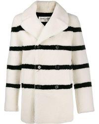 Saint Laurent Striped Shearling Coat - White