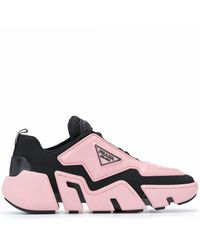 Prada Technical Fabric Sneakers Black Pink