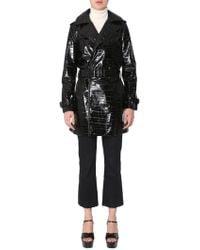Saint Laurent Leather Trench Coat - Black