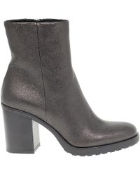 Janet & Janet Grey Leather Ankle Boots - Gray