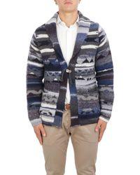 Altea Multicolour Wool Cardigan - Blue