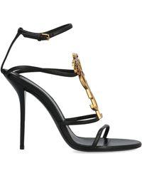 Saint Laurent 110mm Cassandra Logo Leather Sandals - Black
