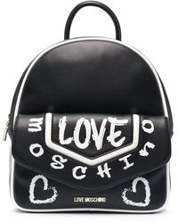 Love Moschino Rucksack mit Graffiti-Print - Schwarz