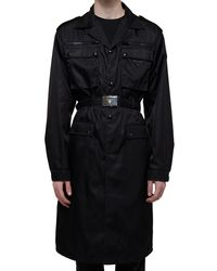 Prada Black Nylon Trench Coat