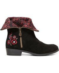 Desigual Black Suede Ankle Boots