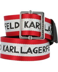 Karl Lagerfeld All Over Logo Striped Buckle Belt - Red