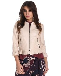 Betta Corradi Beige Leather Outerwear Jacket - Natural