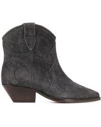 Isabel Marant Dewina Boots Used Look Velvet Faded Black - Grau
