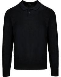 Z Zegna Black Wool Polo Shirt