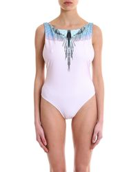 Marcelo Burlon Wings Printed Swimsuit - Pink