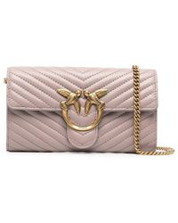 Pinko Leather Shoulder Bag - Pink