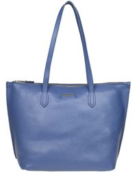 Furla - Blue Leather Tote - Lyst