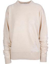 Helmut Lang White Wool Sweater