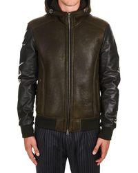 Etro Green Leather Outerwear Jacket