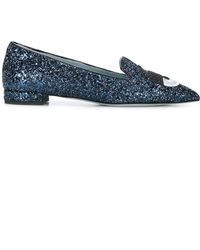 Chiara Ferragni Blue Polyester Loafers