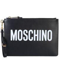 Moschino Clutch mit Logo-Print - Schwarz