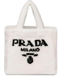 Prada Shopper mit Shearling - Weiß
