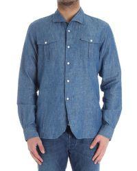 Bagutta Blue Cotton Shirt