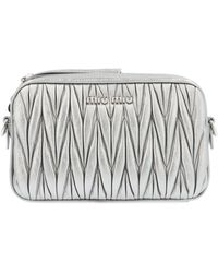 Miu Miu Silver Leather Pouch - Metallic