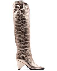 Aldo Castagna Desi10080 Leather Boots - Metallic