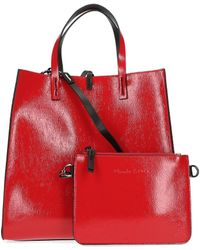 Manila Grace Red Faux Leather Handbag