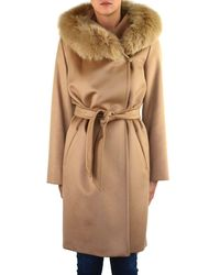 Max Mara Studio Mango Coat In Beige - Natural