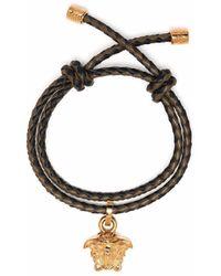 Versace Geflochtenes Armband mit Medusa-Anhänger - Grün