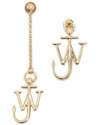 JW Anderson Asymmetric Anchor Earrings - Metallic