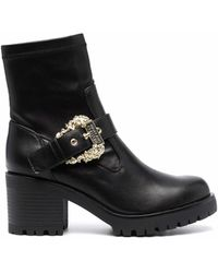Versace Jeans Couture Decorative-buckle Block-heel Boots - Black