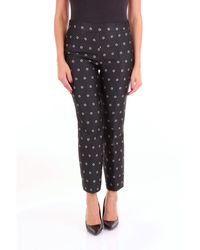 Manila Grace Black Polyester Trousers