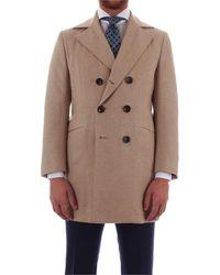 Kiton Beige Wool Coat - Brown