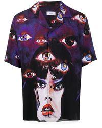 Rhude Bowlinghemd mit Augen-Print - Lila