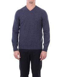 Fedeli Getreuer pullover aus reinem kaschmir mit v-ausschnitt - Blau