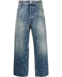 Balenciaga Cropped-Jeans mit Logo-Print - Blau