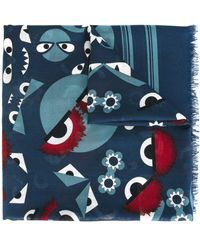 Fendi Blue Silk Foulard