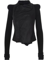 Rick Owens Leather Outerwear Jacket - Black