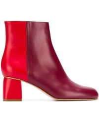 RED Valentino Bicolor Ankle Boots - Red