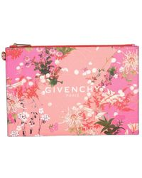 Givenchy Medium Floral Print Pouch With Logo - Pink