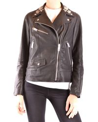 Burberry Black Leather Outerwear Jacket